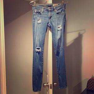 AG super skinny distressed legging denim
